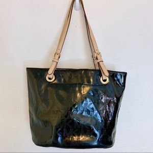 Michael Kors patent leather tote shoulder bag